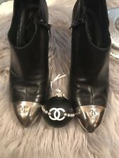 Preloved Chanel Authentic Boots Black Silver Cc Tip Size 41