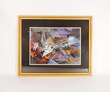 Vintage Mid Century Modern Brutal Abstract Framed Wall Art Print