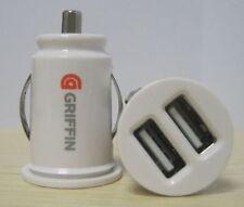 White Dual USB Car Charger Car Power Port Adapter Cigarette Lighter Converter