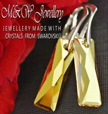 925 Silver Earrings Crystals From Swarovski® 25mm BAGUETTE - Metallic Sunshine