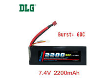 Genuine DLG RC Battery 7.4V 2S 30C 2200mAh Burst 60C Li-Po LiPo Dean's T plug