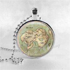 PETER PAN NEVERLAND MAP Handmade Glass Art Pendant Necklace