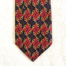 Harrods Tie Equestrian Horse Bit Pattern Argyle 100% Silk Necktie Initial A