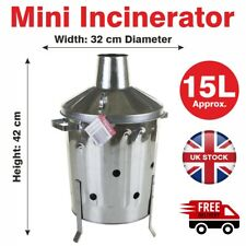15L Mini Garden Galvanised Incinerator Small Fire Bin Burning Wood Paper Letter
