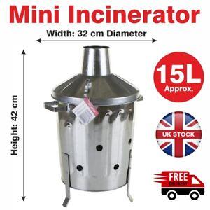 15L Mini Garden Galvanised Incinerator Small Fire Bin Burning Wood Paper Letter