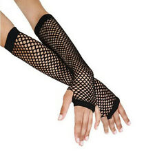 Black Punk Goth Lady Disco Dance Costume Lace Fingerless Mesh Fishnet Gloves