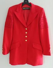 Amazing Vintage ESCADA Margaretha Ley Red Long Jacket Blazer Coat, ORP $1000,S-M