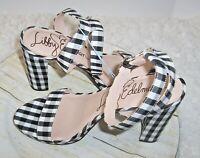 Libby Edelman Pumps Black Gingham Check Ankle Strap Size 8.5 M Block Heel Amanda
