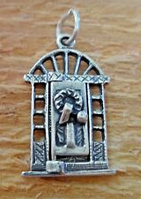Sterling Silver 23x13mm Movable Door with Wreath says Merry Xmas Christmas Charm