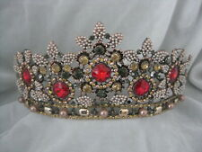 Stunning Hand Made Theatrical Crown Tiara Little Pearls & Multi Color Stones