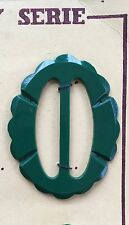 Vintage Buckles - 1950's French oval Carved edge Jade Green Casein Buckle