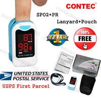 Finger SPO2 Pulse Oximeter Blood Oxygen Sensor O2 PR Meter, Free lanyard&Pouch