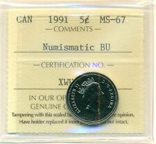 1991 Canada 5 Cent Certified ICCS MS-67; NBU , Very Affordable for New Hobbyist