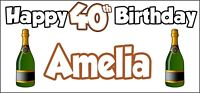 Champagne Bottle 40th Birthday Banner x 2 Party Decorations Mens Womens Adult