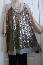 NEW Stunning Sequined Front Stretch Knit  Top by Lane Bryant Plus 18/20 (1X/2X)