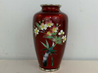 Vintage Japanese Silver Mounted Red Cloisonne Vase w Floral / Flowers Decoration