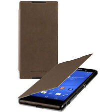 NEW ROXFIT SONY XPERIA Z3+ ULTRA SLIM BOOK CASE SHELL FLIP COVER BROWN SMA5157M