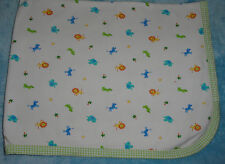Fruit Of The Loom White Jungle Animal Print Baby Blanket Green Gingham Check