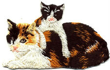 Cat - Calico Cat W/Kitten - Embroidered Iron On Applique Patch