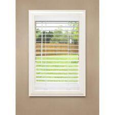 "36"" x 64"" White Etched Woodgrain Faux Wood 2-in Slat Window Plantation Blind"