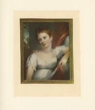 ANTIQUE COLOR PORTRAIT REDHEAD PRETTY GIRL BY ARTIST H. MILLET OF BATH OLD PRINT