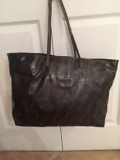 Fendi Zucca Pattern Shoulder Tote Bag large Dark Brown Vinyl