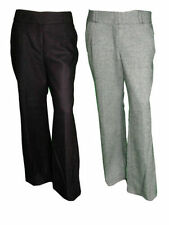 Wool Blend Wide Leg Mid Rise Tailored Trousers for Women