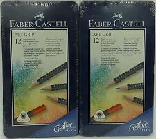 2 Faber-Castell Art Grip Color Pencils, Tin Of 12