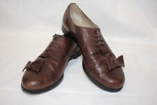 TIBI New York Brown Leather Oxford Style Shoes W/Bow Decor Womens 6 Italy-B18