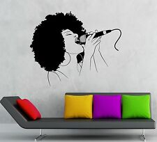 Vinyl Decal Black Lady Singer Music Woman Karaoke Hot Girl Wall Stickers (ig356)