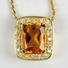 Albert David Pearls 14K Gold Honey Yellow Citrine Diamond Halo Pendant Necklace