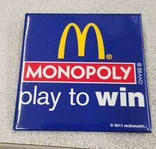 McDonald's 2011 Monopoly Play To Win Square Button Pin Pinback Advertising