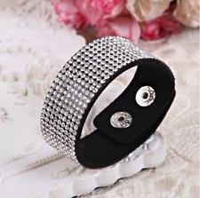 1pc Women Leather Bracelet Wrap Wristband Cuff Punk Crystal Rhinestone Bangle CA