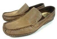 HUSH PUPPIES MOC TOE SLIP ON LOAFERS BROWN SUEDE LEATHER MEN'S SHOES 8.5 M