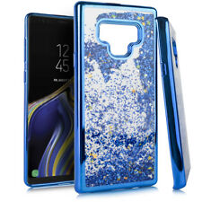 For Samsung Galaxy Note 9 - Blue Chrome Glitter Stars Liquid Skin Case Cover