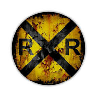 """Novelty Sign - Antique Look Railroad Crossing Sign, Rail Road - 12"""" Round Metal"""
