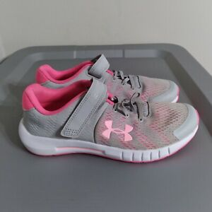 Under Armour Pursuit GAC Girls Size 3Y Shoes Gray/White/Pink Athletic Sneakers