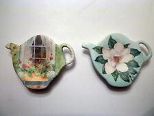 Duo of Hand painted Porcelain Teapot shaped spoon rests from Italy
