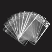 Vertical Transparent Vinyl Plastic ID Card Badge Holder With Zipper X 10PCS