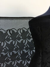 Jet Black ART DECO style floral non Stretch Lace/Mesh Dressmaking Fabric 1.4mts
