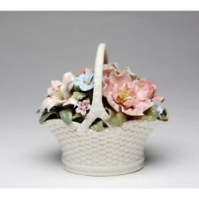 "New Music ""Flower Basket"" White+Pink+Green+Teal Porcelain Figurine-80089-Nais"