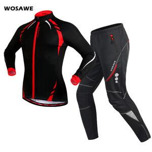 Windproof Mens Cycling Sets Winter Thermal Fleece Jacket Pants Bike Clothings