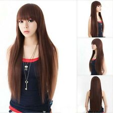 Women's light brown long straight hair full bangs wire fashion wigs wig-A