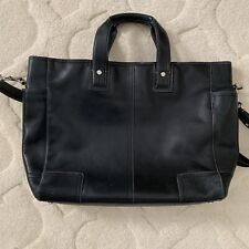 Coach Black Leather Messenger Briefcase Laptop Bag vintage