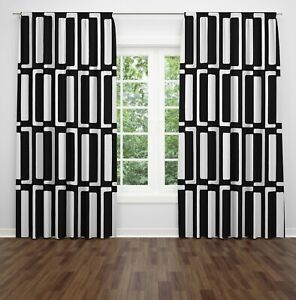 Retro Mid-Century Design Lined Window Curtains Black And White Geometric