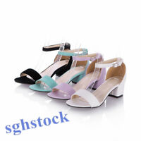 2020 Fashion Ladies Mid Block HEEL Ankle cuff strap women Sandals peep toe shoes