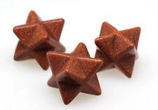 GOLDSTONE MERKABA Star Carving Mineral Gemstone Crystal Healing Sacred Geometry