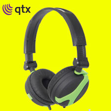 QTX QX40 Green Stereo OFC Leather Cushioned Foldable Headphones 1.5m 100.635UK