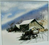 ARTIST SIGNED ORIGINAL WATERCOLOR PAINTING OF WINTER LANDSCAPE