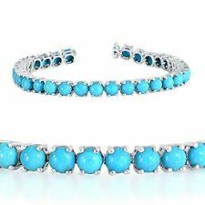 "925 Silver 18.03Ct Sleeping Beauty Turquoise Tennis Bracelet 7.5"""